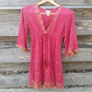 Flying Tomoto Tunic Dress with Gold Embroidery M